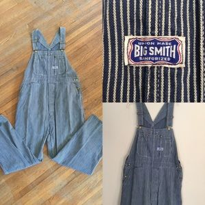 Vintage Big Smith Hickory Striped Overalls